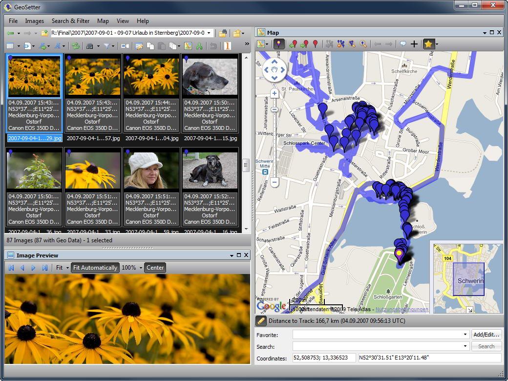 GeoSetter это программа для хранения и отображения координат IPTC данных в файлы изображений.