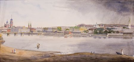 Вид центра города у реки Миасс из Заречья