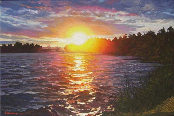 картина Александра Самохвалова «Ослепительный закат»