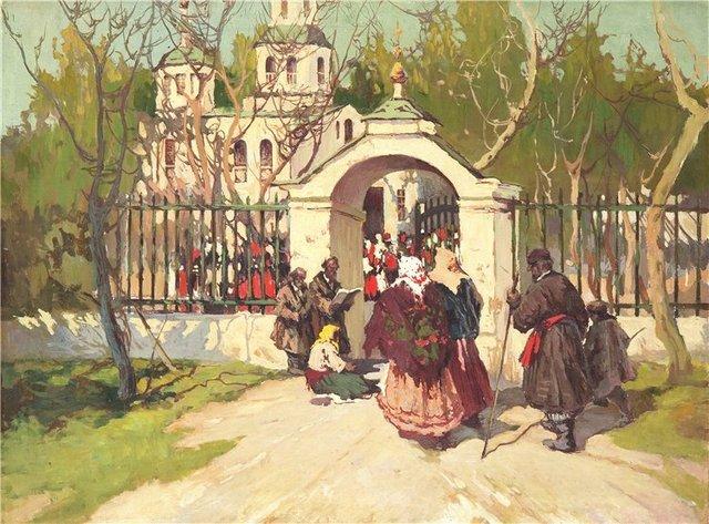 Колесников Степан Федоровович (1879-1955). Перед Пасхальной службой.