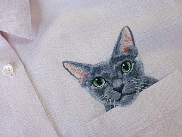 «Кошачья» вышивка от Хироко Кубота