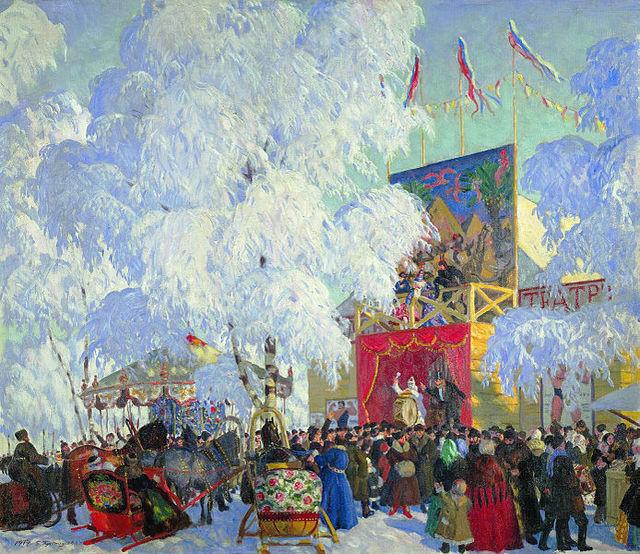 Картина Бориса Кустодиева «Балаганы»