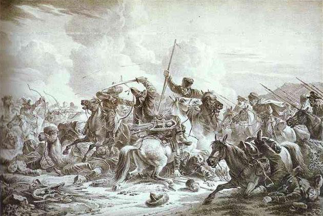 А. О. Орловский. Битва казаков с киргизами. 1826.