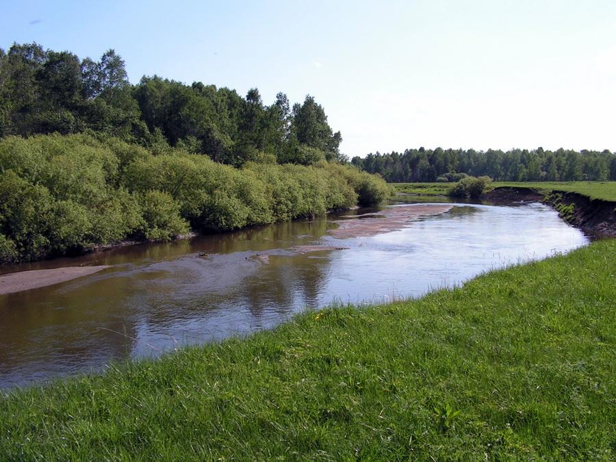 Река Миасс в районе деревни Мамаева