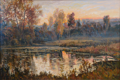 Вечер у лесного озера